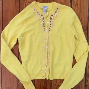 Yellow pearl and beaded cardigan Lucky brand XS